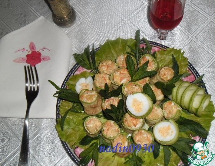 Рецепт: Рулетики кабачковые с сельдереем и овощами