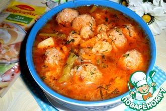 Рецепт: Рассольник с гречкой, фрикадельками и овощами