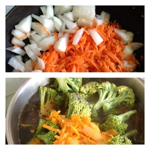 """Onion cut into cubes, carrots grate on a coarse grater. Fry until Golden brown in vegetable oil.  When the potatoes have """"Alden"""" add roast and broccoli, pre-disassembled into inflorescences. Leave to simmer for 7 minutes."""