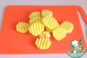 Potatoes cut into round slices.