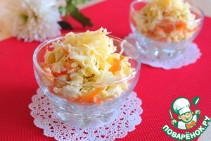 Salad put in the bowl portion, the top sprinkle with cheese.   Bon appetit!