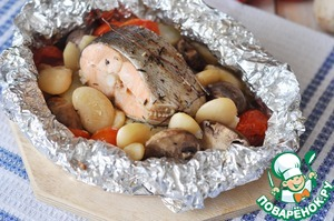 Ready disclose salmon, served in foil hot.  Bon appetit!