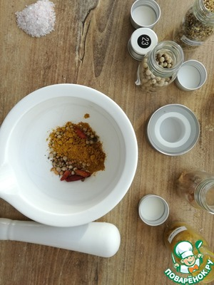 Pre-prepared seasoning (curry, coriander, white pepper, chilli), mixed them in a mortar and pounded.