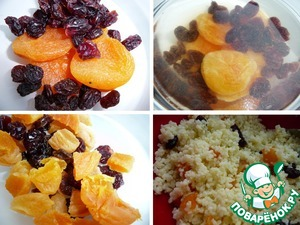 Dried apricots, cranberries, raisins pour boiling water for 1 minute, drain, Pat dry with paper towel and add to the millet (dried apricots, chop into small pieces). Give everything a good stir.