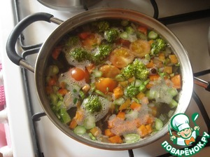 Cook until cooked vegetables and rice. It is approximately 15-20 minutes.
