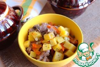 Рецепт: Жаркое с мясом индейки в горшочках