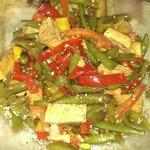 Салат со стручковой фасолью и тофу