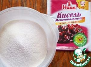 Далее добавить сахар и кисель.