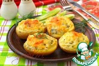Рецепт: Запечённый картофель с сулугуни
