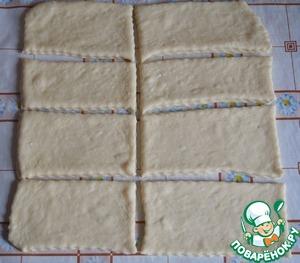 Разрезать прямоугольник на несколько маленьких прямоугольников (шириной, примерно, 5-6 см., длинной, примерно, 12 см.).