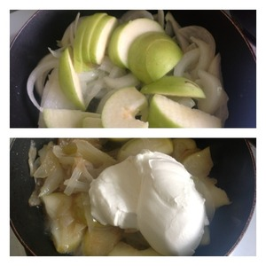 To the onions add the Apple sliced. Remove seeds, peel leave. To reduce the fire and stew the apples together with the onions until the apples are soft. Then add sour cream and pour 50 ml of water. Saute all together for 4-5 minutes.