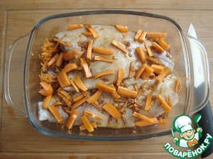 Onions-the fish and poured the sauce after marinating the fish, leaving little for vegetables. Hereinafter, the cubes of carrots.