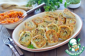 Potato and mushroom lavash rolls