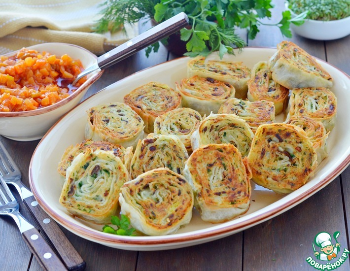 Рецепт: Картофельно-грибные рулетики из лаваша
