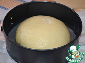Coming up the dough on the work surface, lightly greased with vegetable oil, press down to form a bun. Put the shaped loaves in the baking dish. (I have a split form with a diameter of 20 cm) Form of grease previously vegetable oil. Cover with linen towel and put the form of bread in a warm place for 30-35 minutes. If desired, use a sharp knife to bread a few notches.