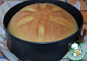 Ready bread remove from the oven and allow to cool 5-10 minutes in pan.