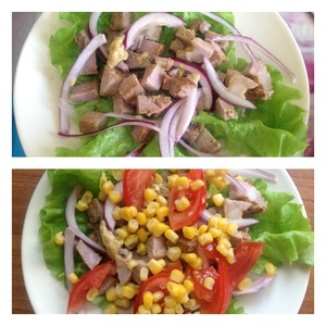 On a plate put the salad leaves ( you can break it or leave the leaves whole). Sprinkle pickled and pressed of excess water onion. Meat cut into cubes. Pour with the dressing. Tomato cut into wedges or slices, spread on meat, sprinkle corn and pour with the dressing.