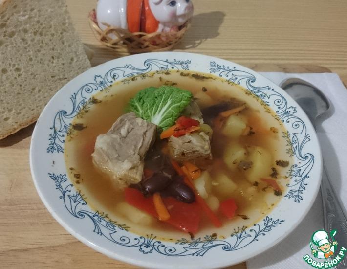 Рецепт: Суп со свининой и фасолью