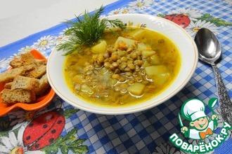 Рецепт: Постный суп с чечевицей в мультиварке