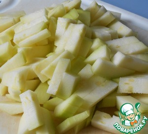 Zucchini peeled, cut into.