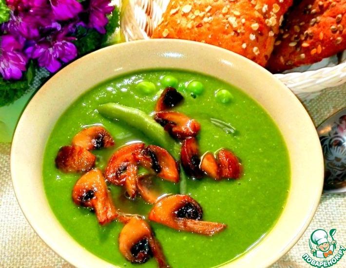 Рецепт: Зелёный суп-пюре с шампиньонами