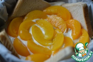 The cheese spread sliced peaches.