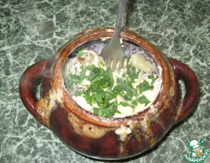 Рецепт: Фрикадельки в горшочках с молоком