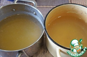 Cook beef and chicken broth from the bones, strain. 1/4 Cup beef left to cook meatballs.