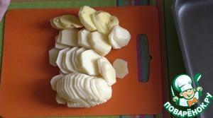 Картофель очистите от кожуры, нарежьте его тонкими ломтиками и хорошо посолите.