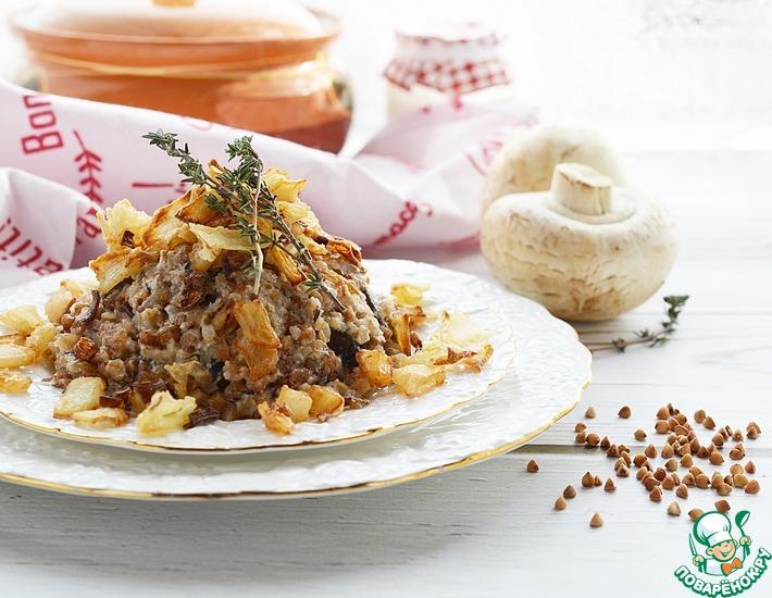 Рецепт: Гречка с грибами и золотистым луком