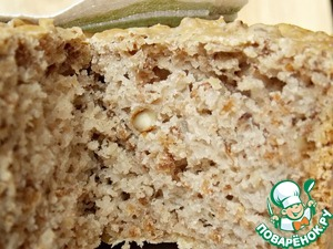 """The bread turns out with a very interesting structure, not wet, not soggy, but quite dense. With a slight aroma of buckwheat and walnut finish. What is it like bread """" 7 cereals"""". Perfect for main dishes and sandwiches with tea or coffee. The loaf is roughly 300 grams."""