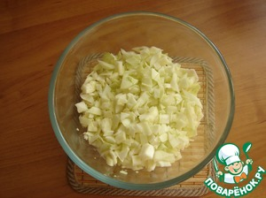 Cabbage finely cut for cutlets. Of course you can break the chopper, but I like sliced meatballs.