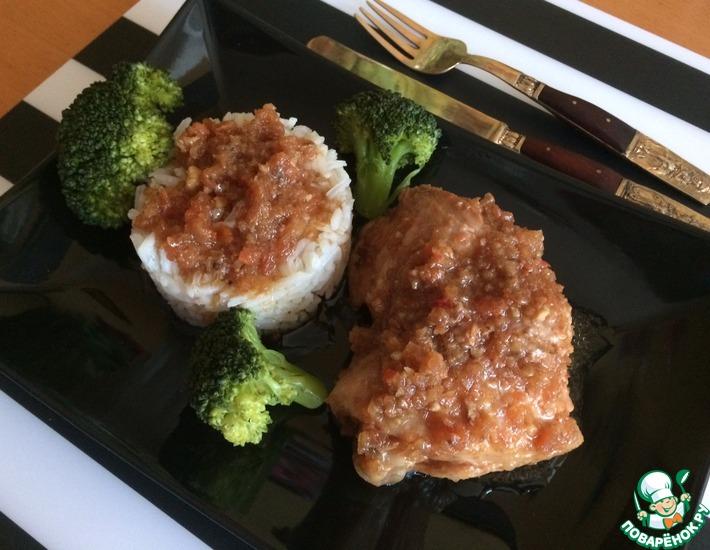Рецепт: Куриные бёдра в соево-имбирном соусе