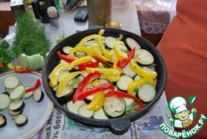 Поверх зелени укладываем резаные кольцами кабачки, баклажаны и перец сладкий соломкой. лучше брать перец ярких цветов - так готовое блюдо будет наряднее. присаливаем и перчим, хорошо добавить молотый кориандр и зиру