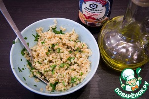 Add the dressing to the prepared bulgur and stir.