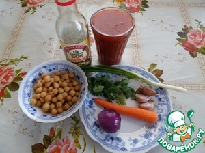Prepare the products. To prepare this soup, I used pre-cooked chickpeas, which greatly reduced the cooking time.