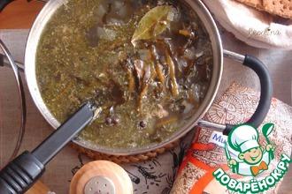 Рецепт: Суп с морской капустой и сайрой
