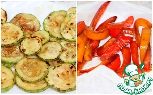 Roasted vegetables spread on a napkin to absorb excess oil.