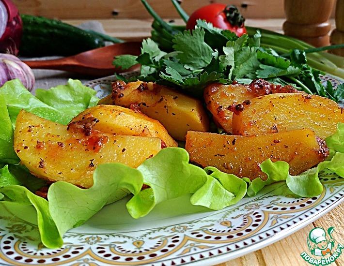 Рецепт: Картофель, запеченный в помидорном соусе