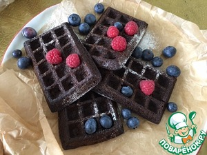 These are the waffles are ready. The aroma is incredible. Banana and bird-cherry flour, I think almond adds a touch of...