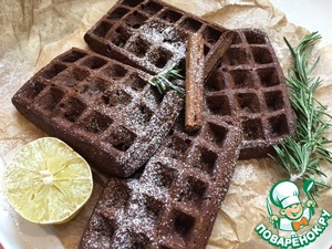 Waffles with sweet potato and cocoa are perfect for a combination of salted red fish and mix with yogurt, jam, berries, or even dried meat. Again the scope for action.