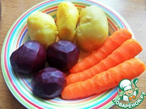 Cook, clean vegetables. A nice beet, huh was little, in the process added a fourth for balance.