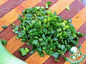 Green onions or in this case leeks finely chopped.