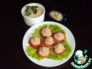 Pate spread on the tomato slices. Also pate can be served with croutons.