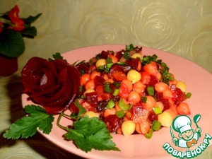 Mix beets with chickpeas, spread on a dish.  Sprinkle top of green onions, finely chopped.