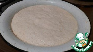 Dough leave in a warm place to rise for 1 hour. After an hour here it is a beautiful. A light, porous.