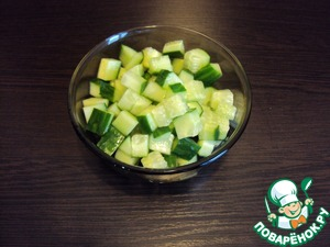 Boil potatoes in their skins. While cooking the potatoes cucumber cut cubes