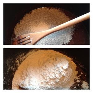 Добавить соль, сахар, дрожжи. Перемешать. Всыпать муку пшеничную и вымесить тесто.