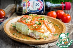 Bake the cabbage envelopes with the fish at 180C for about 20-25 minutes.