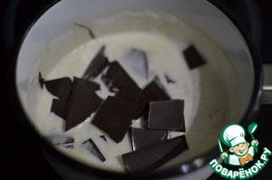 The cream (60 g) bring to the boil in a saucepan. Chocolate grind. Pour the boiling cream to the chocolate and stir until smooth.